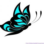 black and white teal butterfly