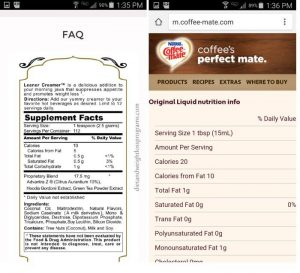 Leaner creamer and coffeemate nutritional info