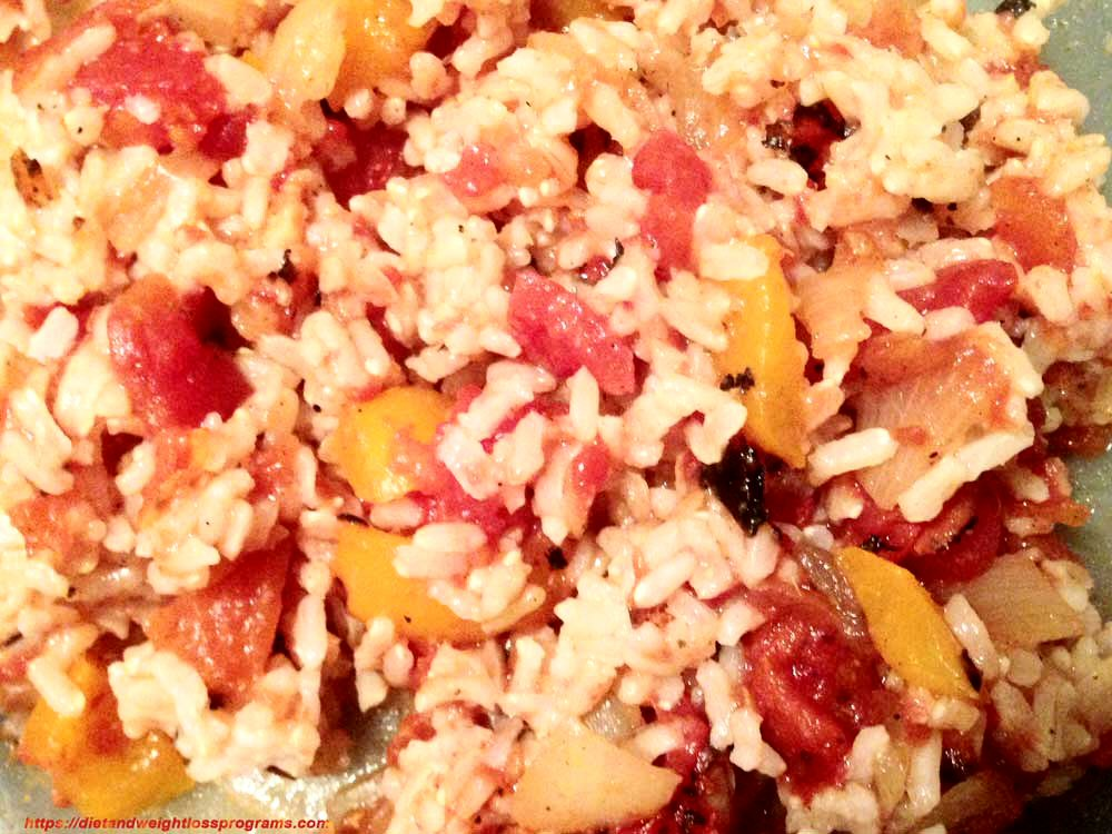 Spanish Rice with peppers, onions and tomatoes